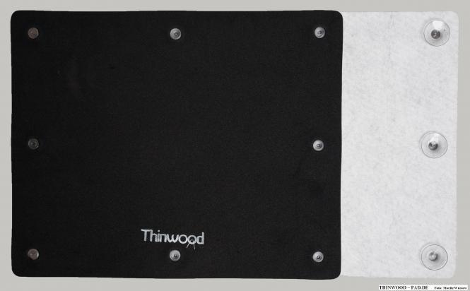 Thinwood Übungspad Bassdrum Pad mit Vlies u. Saugnäpfen für glatte Felle
